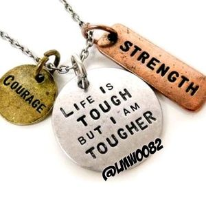 Jewelry - Tougher than Life Empowerment Charm Necklace NWT